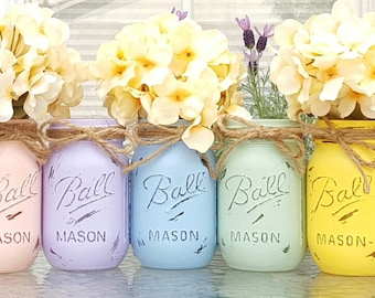 Spring, Summer or Nursery Pastel Pink, Purple, Blue, Green and Yellow Distressed Mason Jars