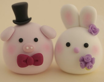 Rabbit ,Bunny and pig   wedding cake topper,love birds wedding cake topper