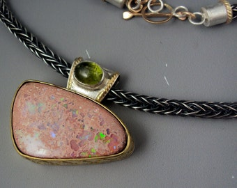 Opal Necklace - Mexican Opal and Peridot Pendant on Viking Knit Chain