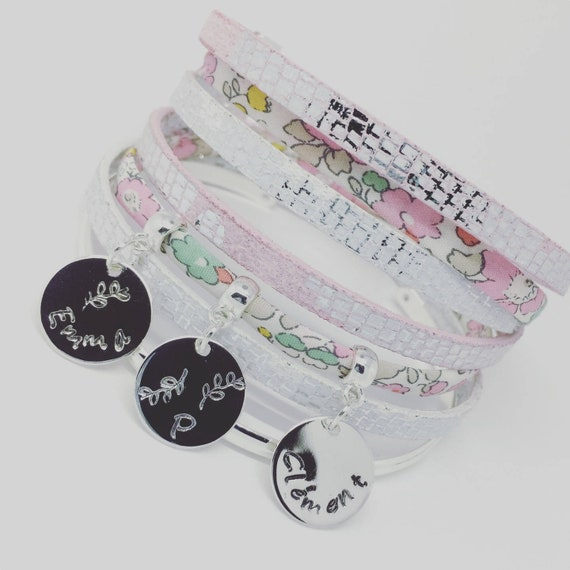 Personalized jewelry - Liberty of London Rose with 3 prints custom multi strand Bracelet - Palilo jewelry