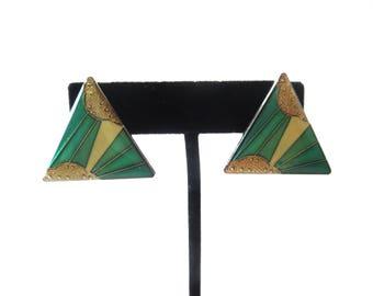 Vintage Art Deco Revival Pair of Silver Tone Metal Green & Gold Enamel Triangular Shaped Pierre Bex Style Pierced Earrings