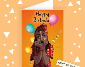 Birthday Card / Birthday Cards For Black Girls / Birthday Cards for Black People / Black Girl Magic Birthday Cards / Kubitees / Bday Cards