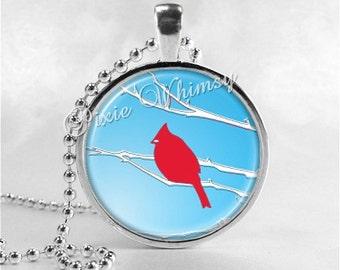 Cardinal Bird Necklace Art Pendant Jewelry with Ball Chain, Cardinal Jewelry, Red Bird