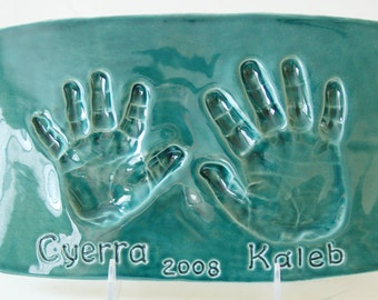 Sister and Brother Handprint Plaque - Custom keepsake of Sibling - Hand Print Art -- Gift For Mom & Dad - Personalized Prints - Gift for Mom