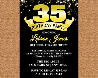 35th Birthday Invitation, Black and Gold Invitation, Milestone Birthday Invitation - Digital File