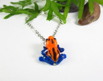 Orange Poison Dart Frog necklace, frog jewelry, unique gifts, frog gifts, frog charm, animal lover gift, animal charm, polymer clay, frog