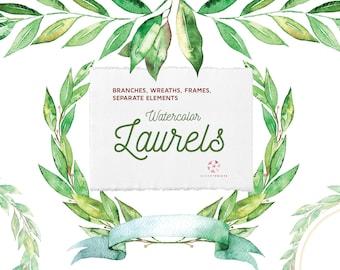Watercolor Laurels | leaves | wreaths clipart | watercolour Laurels | hand painted | wedding graphics | invitations | frames | PNG | bouquet