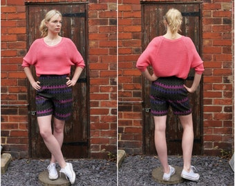 1960's Size S brown and pink bermuda-style shorts