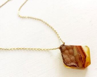 Turkish Druzy Necklace, Drusy Espresso Amber Gold Necklace, Natural stone jewelry, Minimalist, Modern jewelry by TANEESI