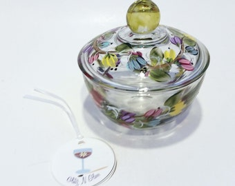 Glass Sugar Bowl Hand Painted With Multi-Colored Pastel Blooms on a Vine