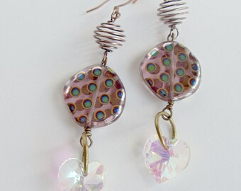 Amethyst Earrings Round Glass & Wire Beaded Earrings Sparkling Glass Hearts Copper Earwires