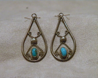 Sterling Silver Turquoise Dangle Earrings