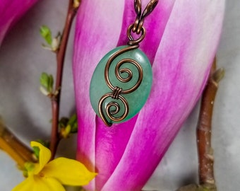 Mint Green Copper ~ Mint Green Necklace ~ Mint Green Pendant ~ Copper Swirl Pendant ~ Handmade Necklace ~ Simple Mint Necklace