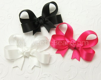 "Set of 3 Baby Bows, Satin Hair Bows for Baby Girls, 2 inch Satin Bows, 2"" Infant Hair Bows, Tails Down Satin Baby Bows newborn baby toddlers"