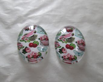 2 cabochons glass 25 x 18 mm print bird and cherry
