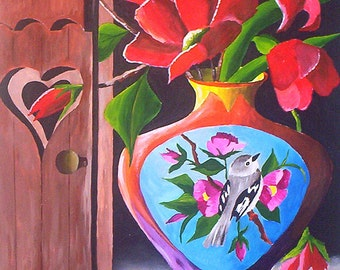 """First Morning Light, Acrylic Flower Painting, Still Life Original Painting Red Floral Painting 9 x 12"""" by artist Michael Hutton"""