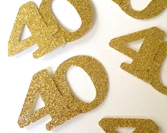 ANY AGE! Jumbo Gold  Birthday confetti, confetti, glitter confetti, party decorations, 40th, 30th birthday, 40 confetti- total of 25 pieces