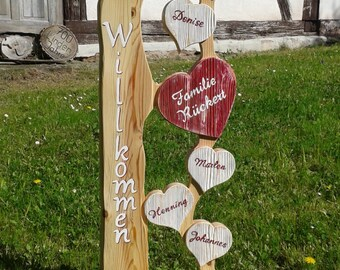 Welcome Personalizablee Family Heart Greeting welcome wood Gift Idea Letter