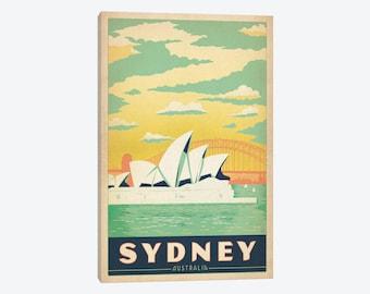 Sydney Travel Poster, Sydney Art Print, Sydney Australia Opera House, AUS, Canvas Wall Art, Retro Vintage Travel Home Decor, Sydney Art Gift