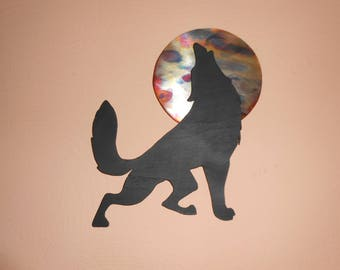 Howling Wolf - Copper and Wood Wall Art