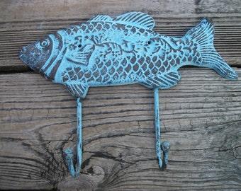 Cast Iron Fish Hook - Fish Towel Hook, Beach House Decor, Nautical Wall Hook, Nautical Decor, Housewarming Gift, Cast Iron Wall Hook