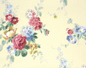 1940s Vintage Wallpaper by the Yard - Floral Wallpaper with Pink and Blue Rose Bouquets on Yellow