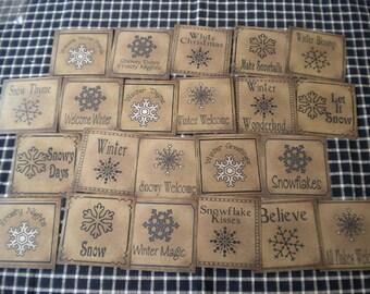 Snowflake Words Prim Pantry Labels