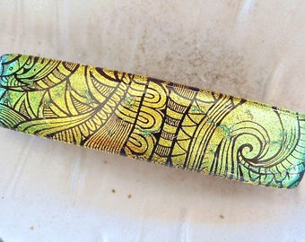 Medium Dichroic Glass Barrette, French Made Barrette Clip, Gold, Black, Green