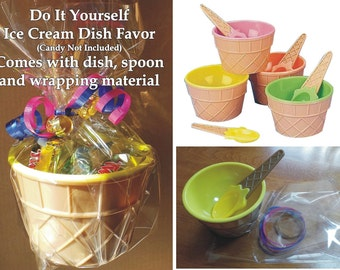 """D-I-Y Ice Cream Bowl with Spoon and Wrapping Material - Ice Cream Dish - Ice Cream Cup - 4"""" wide x 2.5"""" tall"""