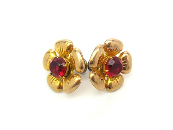 Vintage Gold Fill & Red Rhinestone Flower Earrings. 1950s Fashion Jewelry