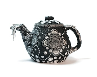 Polymer Clay Covered Ceramic Teapot, Small Clay Teapot, Unique Teapots, Alice in Wonderland Teapot for One, Whimsical Teapots, Black White