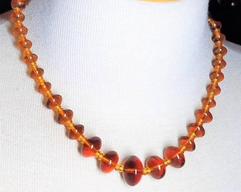 30% Off Sale Amber Color Vintage Glass Bead Necklace
