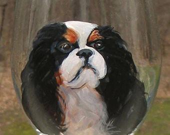 CUSTOM Dog Glass ~ Handpainted Dog ~ From YOUR Photos ~ Dog Wine Glass ~ OOAK Birthday Gift