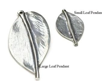 3pc Leaf  Focal Pendant Set - Antique Silver - Silver Plated - ZAMAK  - Best Quality - Qty. 1