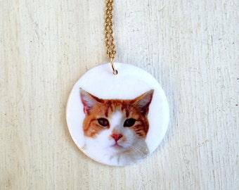 Cat necklace, pet photo necklace, custom cat necklace, custom pet necklace, pet memorial necklace, cat photo necklace, pet charm, cat lover