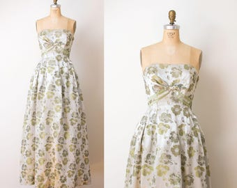 1950s Gown / 50s Brocade Strapless Evening Gown
