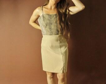 Tan biege nude skirt set / suede skirt set / vintage skirt co-ords  coordinates