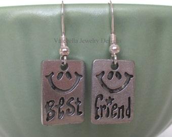 Earrings BFF Best Friends Friendship sterling silver french wire dangle earrings Bestie girls birthday kids tween teen smile friend jewelry