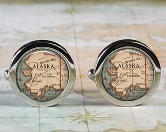 Alaska cuff links, Alaska state map cufflinks wedding gift anniversary gift for groom groomsmen gift for best man Father's Day gift