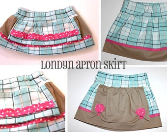 INSTANT DOWNLOAD Londyn Apron Skirt Boutique Style PDF Sewing Pattern Includes Sizes Newborn up to 14