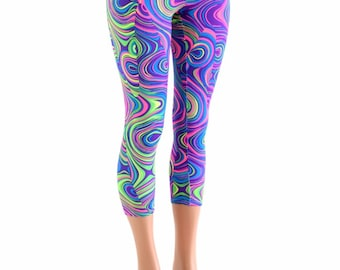 Neon UV Glow Worm Print High Waist Capri Length Leggings  -152886