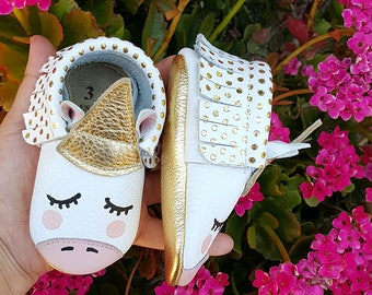 Gold Dot Unicorn Moccasin   Baby Moccasins   Baby Moccs   Handmade Baby Moccasins   Unicorn Moccs   Unicorn Shoes.