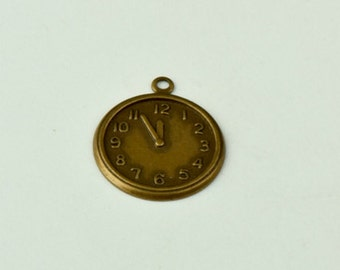 Clock face charm, Brass and antiqued , 6 each 15157