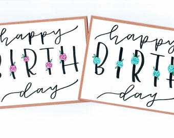Happy Birthday, Handmade Card, Pink & Blue Floral, Free Shipping