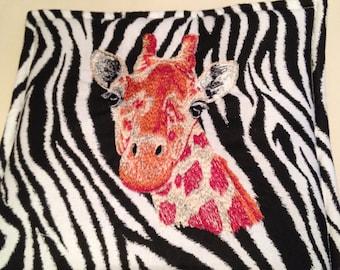 Giraffe Embroidered Pot Holder