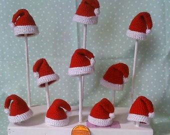 1 x 12th scale dolls house hand crochet santa hat
