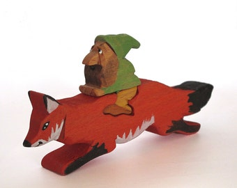 Gnome on Fox/ Wood toy Animal and Rider