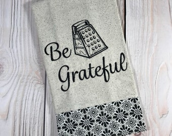 Be Grateful Tea Towel, Black