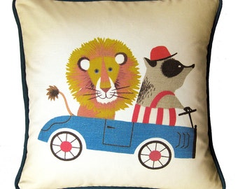 """Handmade Throw Pillow Cover / Boys Room / Nursery Decor / Lion and Badger Go Cart / Gift for Boy / Baby Shower Gift / Red Blue / 16"""" x 16"""""""