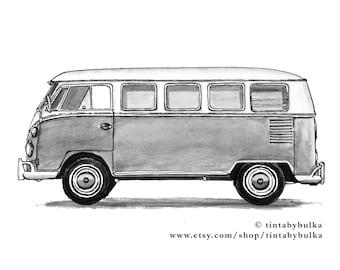 Vintage Happy Camper Glamping Wanderlust Nursery Decor Campervan Vintage Camper VW Van VW Bus Travel Gift Retro Campervan VW Bus Decor